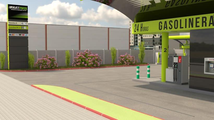 Recreación 3D de la construcción de gasolineras FASTFUEL y opcionales. 1