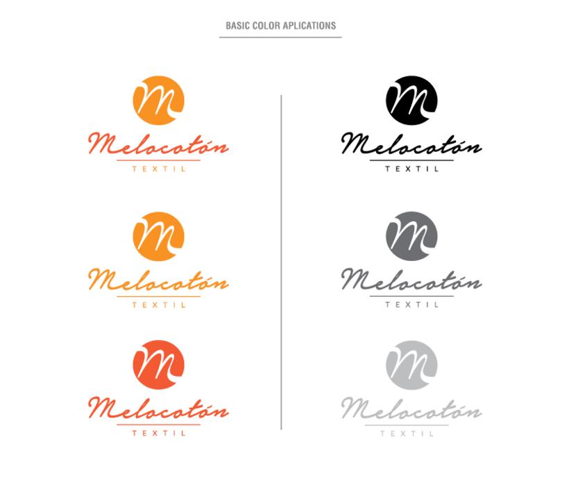 Melocotón Textil // Diseño de logo y aplicaciones de color 0