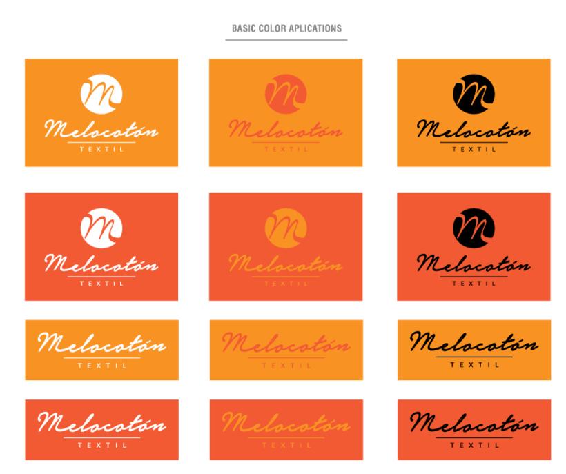Melocotón Textil // Diseño de logo y aplicaciones de color 1