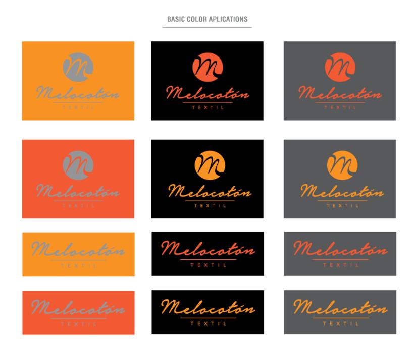 Melocotón Textil // Diseño de logo y aplicaciones de color 2