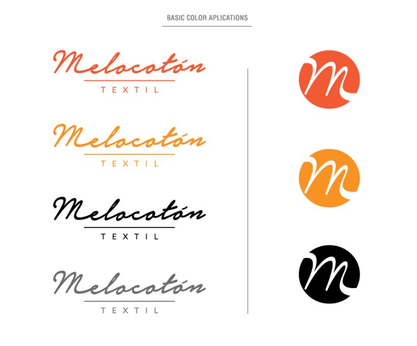 Melocotón Textil // Diseño de logo y aplicaciones de color 3