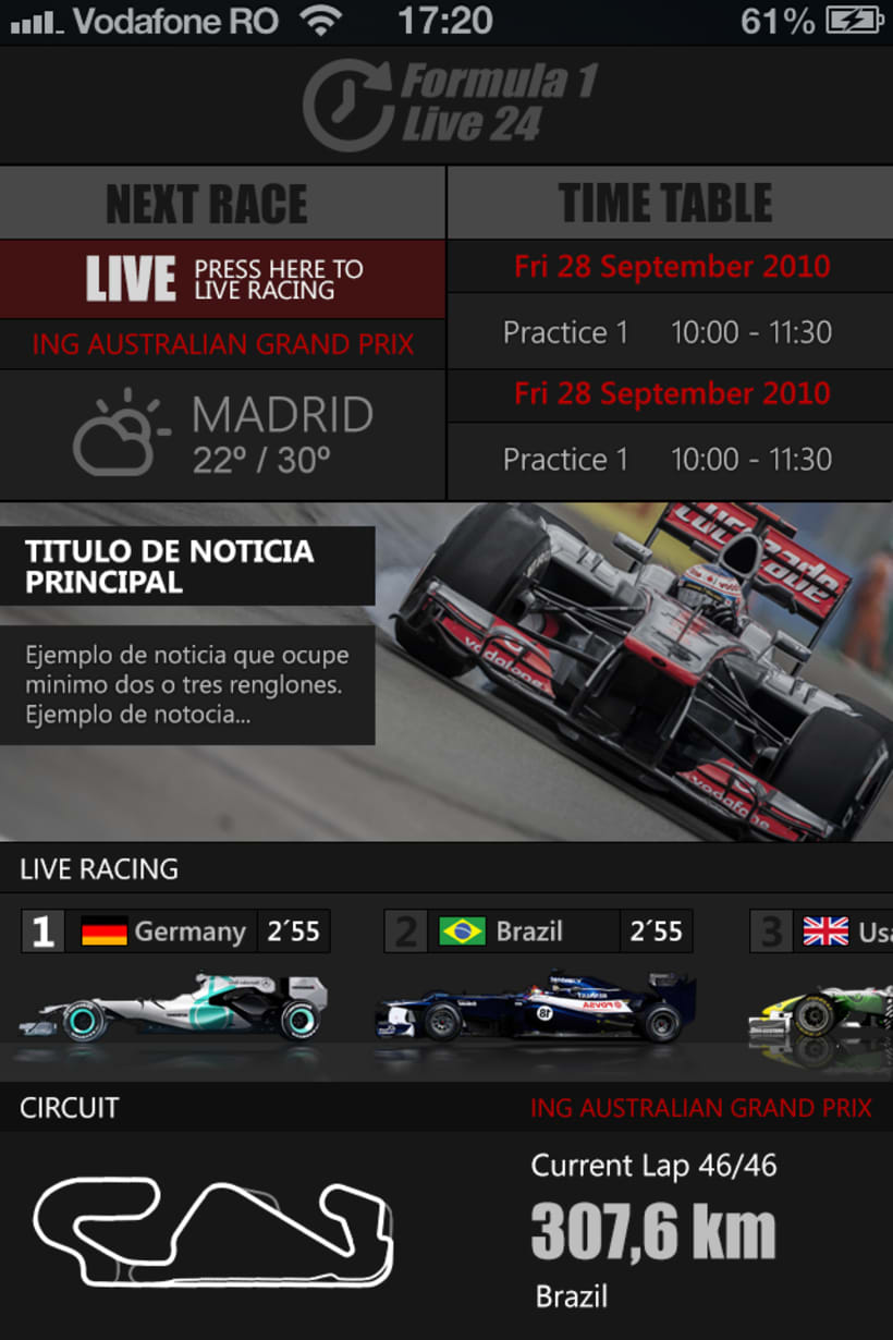 F1 Live 24 App for iphone , ipad and android -1