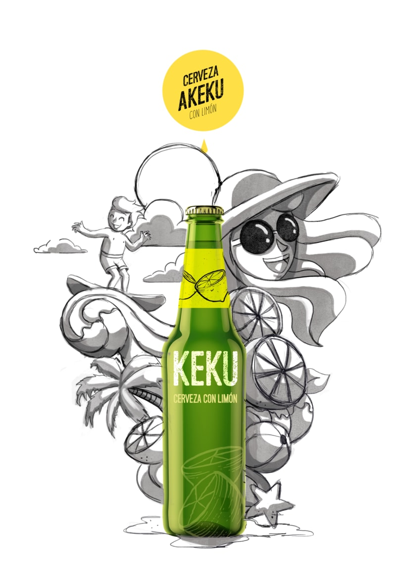 Ilustración exprés Cerveza AKEKU con limón 4