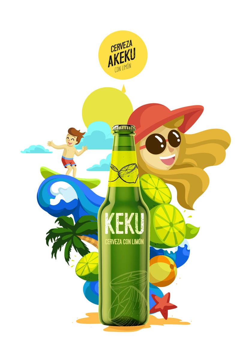 Ilustración exprés Cerveza AKEKU con limón 2