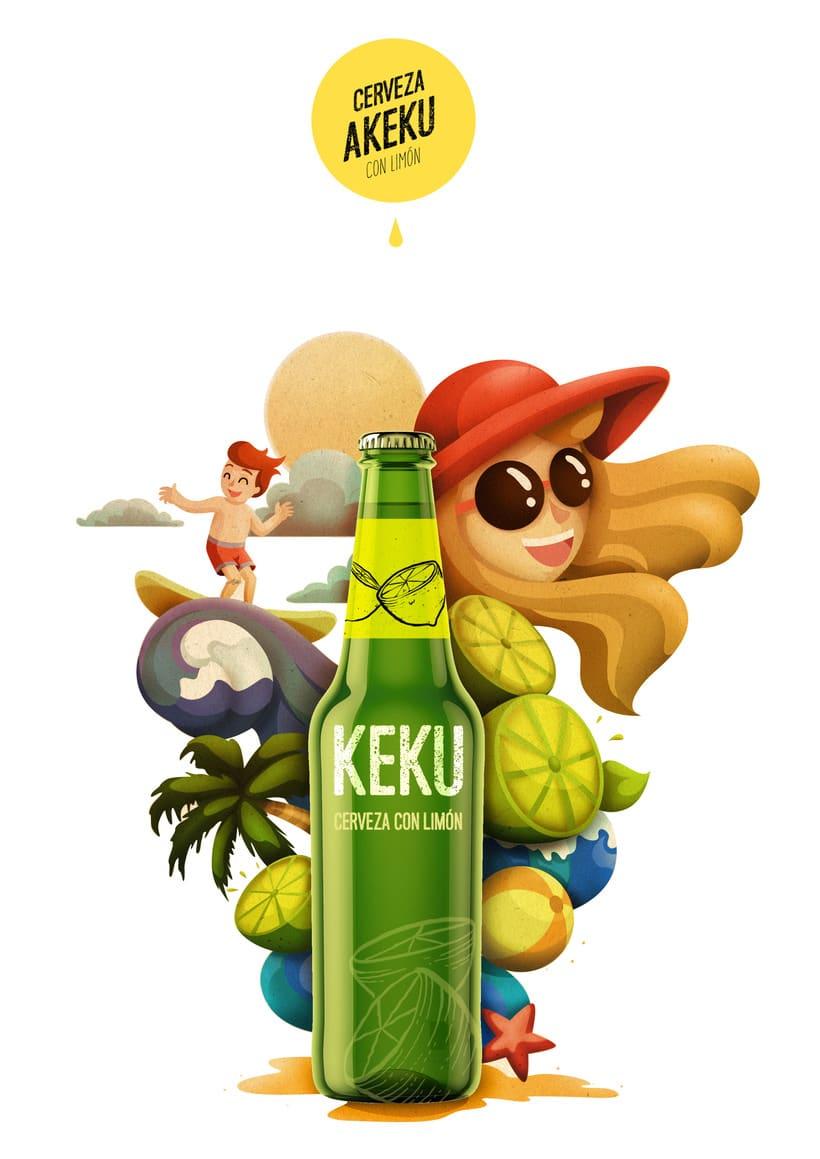 Ilustración exprés Cerveza AKEKU con limón 0