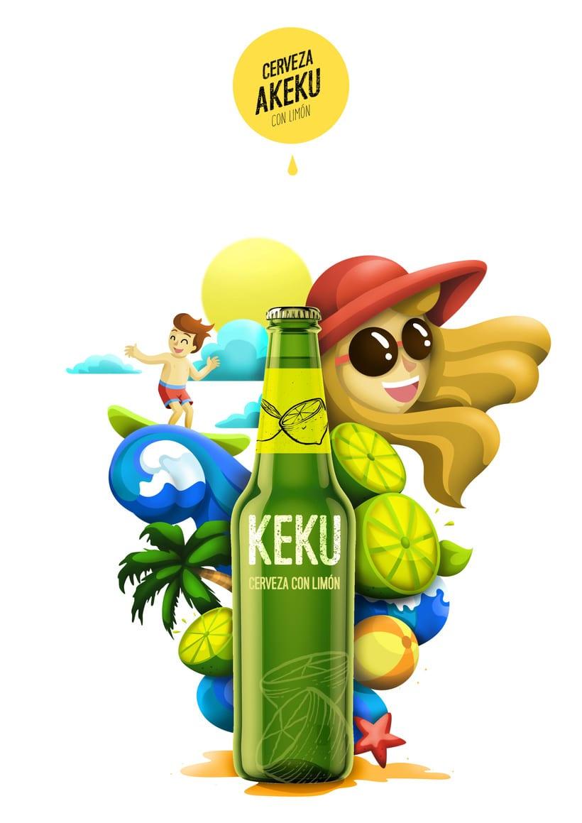 Ilustración exprés Cerveza AKEKU con limón 1