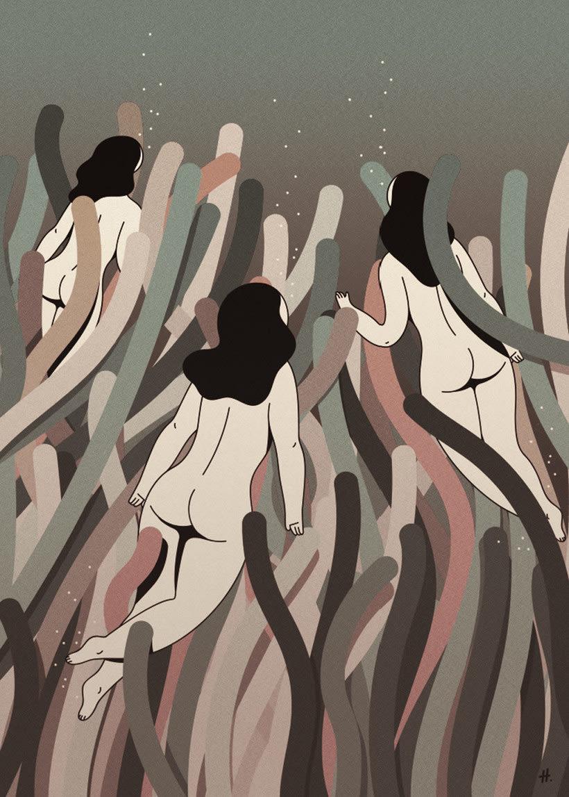 Las mujeres misteriosas ilustradas por Hugo Giner 12
