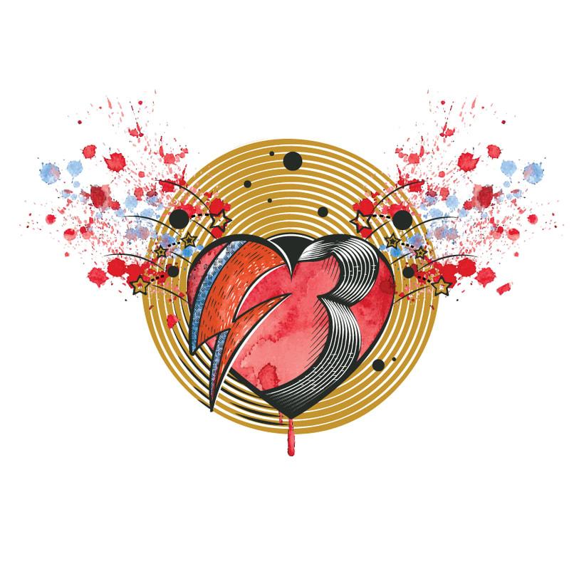 Corazón Bowie (Ilustración textil) 0