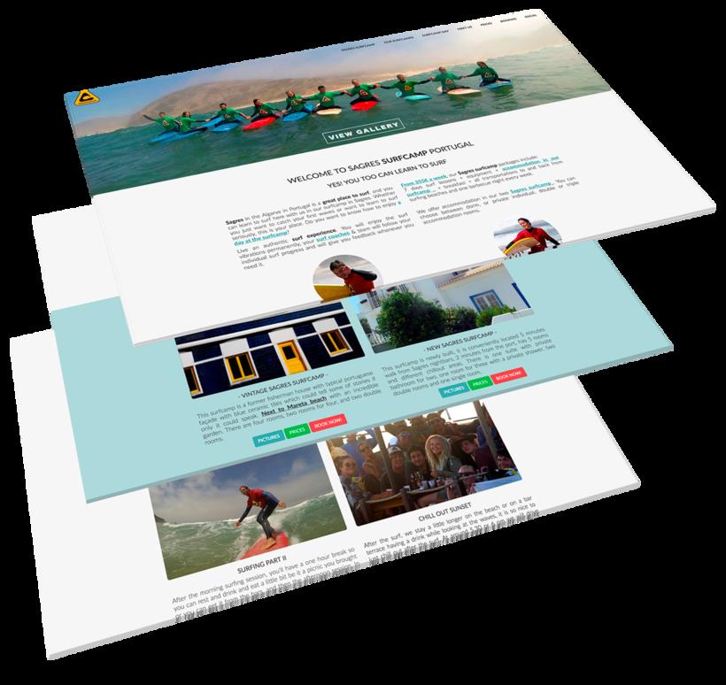 Diseño Web Sagres Surfcamp, escuela de surf 0