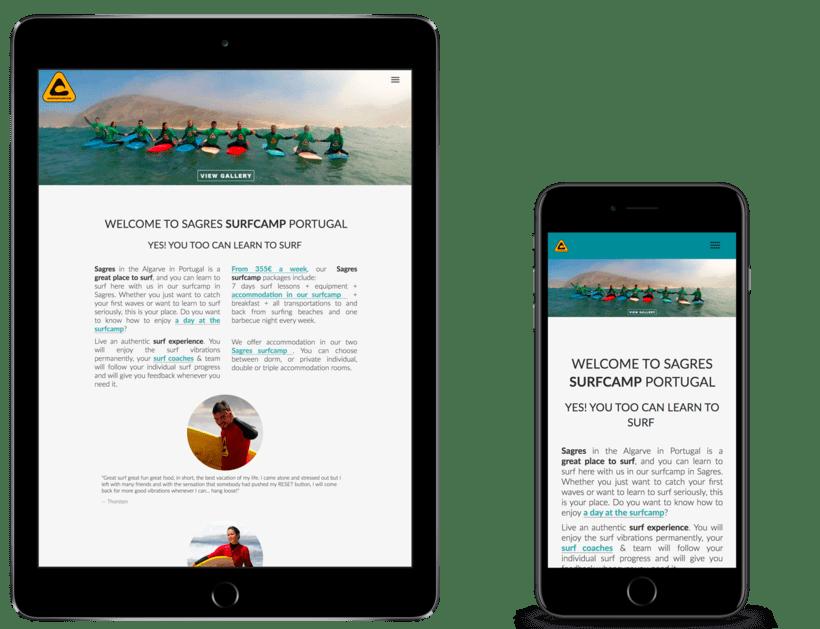 Diseño Web Sagres Surfcamp, escuela de surf 1