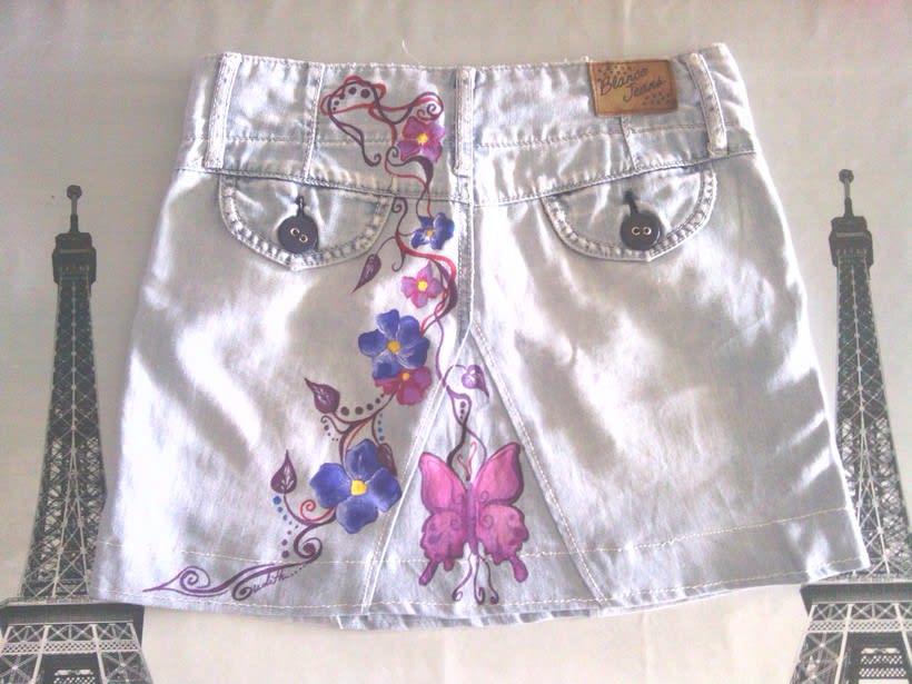 Vestidos,pantalones y faldas pintados a mano 16
