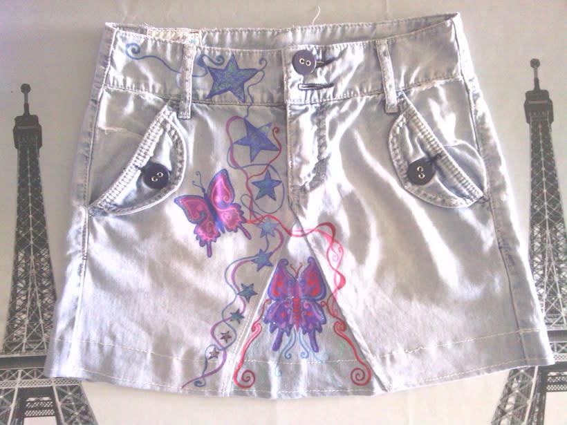 Vestidos,pantalones y faldas pintados a mano 17