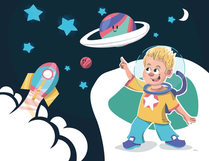 Alcanzando Una Estrella | Ilustración Infantil 0
