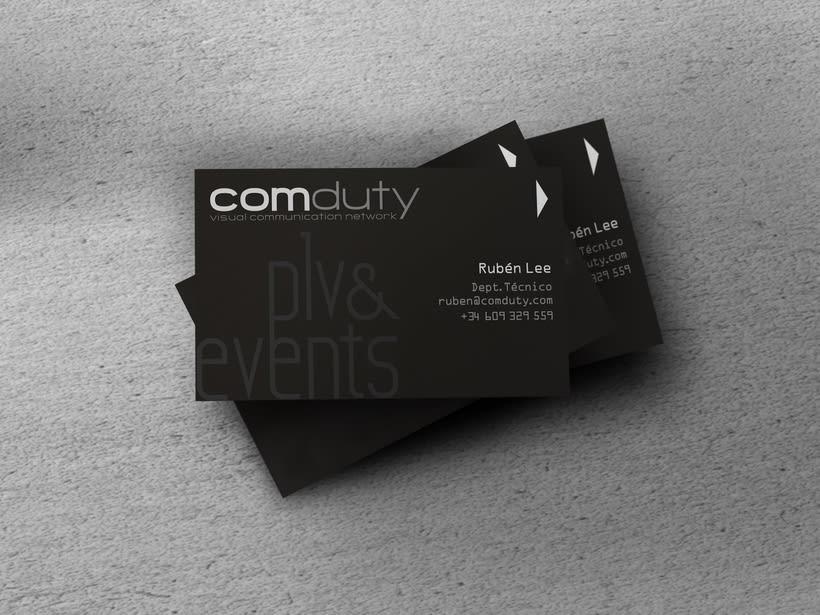Imagen corporativa para Comduty, empresa de producción de eventos y plv. 2