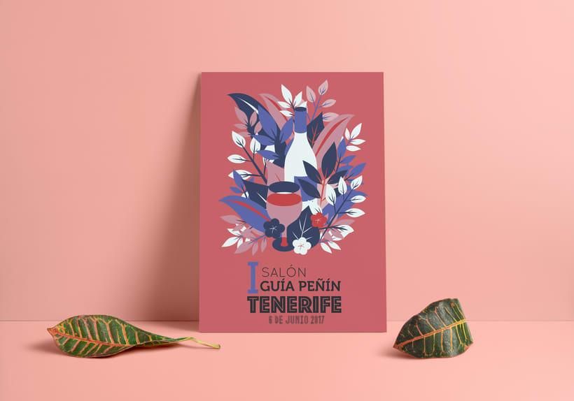 Propuesta de cartel para el I Salón del vino en Tenerife de GUÍA PEÑIN 0