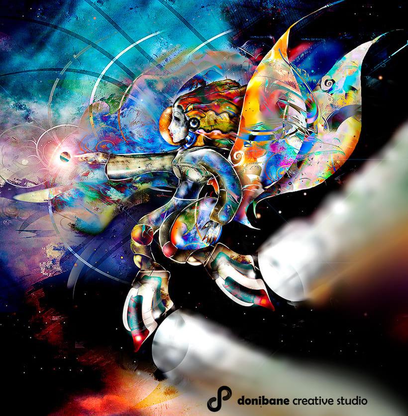 Angel del espacio, ilustración realizada por Donibane Creative Studio -1