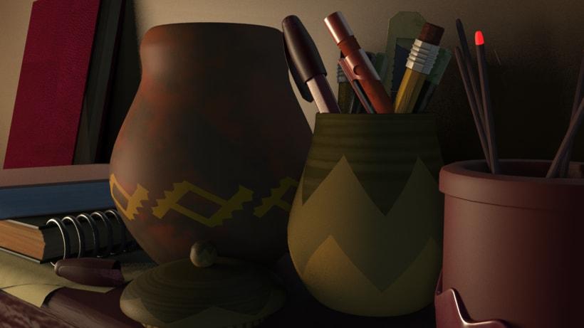 Modeling objects on a shelf. 0