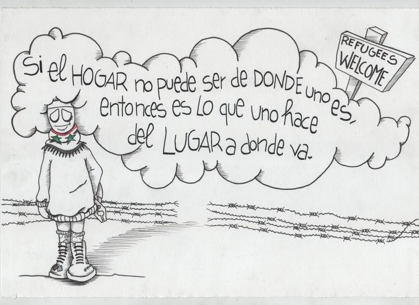 """Colaboración solidaria proyecto """"HOGAR=REFUGIO""""(de Iratxe Gonzalez) Ilustración original+mural  1"""