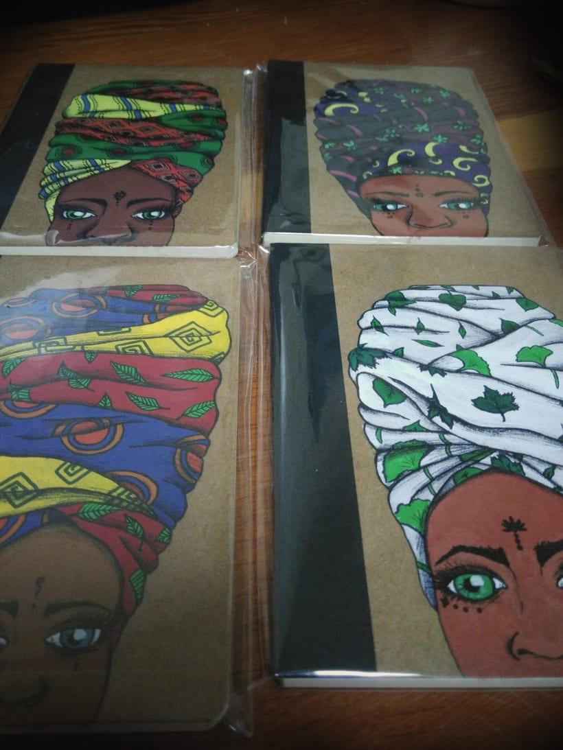 Turbante con arte (libretas de carton reciclado y pintadas a mano) -1