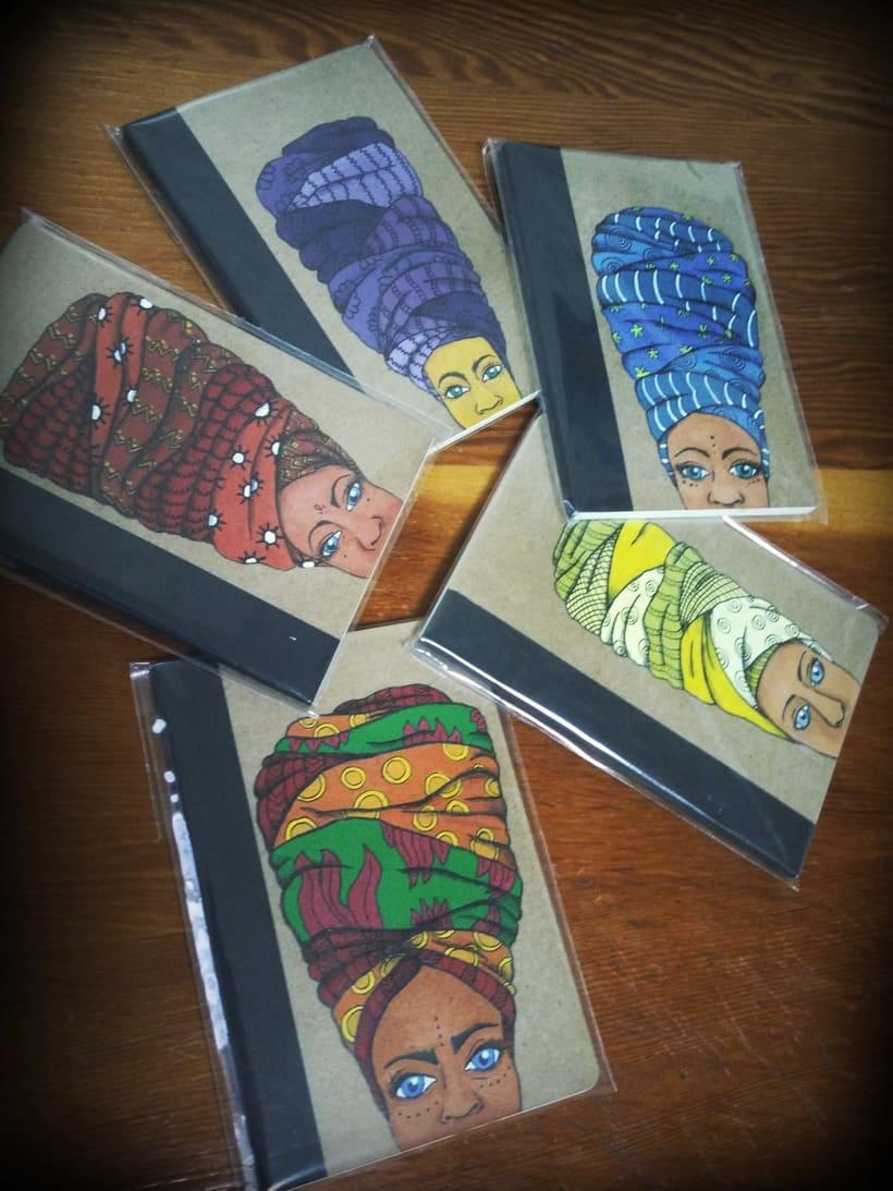 Turbante con arte (libretas de carton reciclado y pintadas a mano) 0