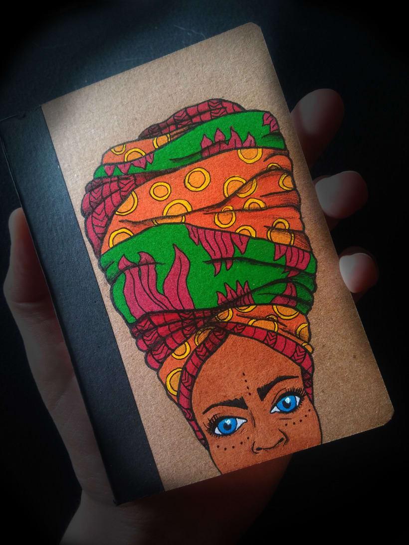 Turbante con arte (libretas de carton reciclado y pintadas a mano) 2