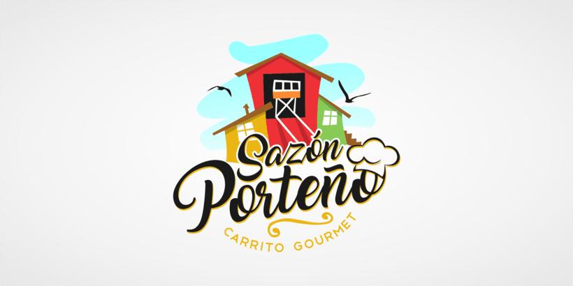 Sazon Porteño, Logotipo para carrito de comida rapida. 0