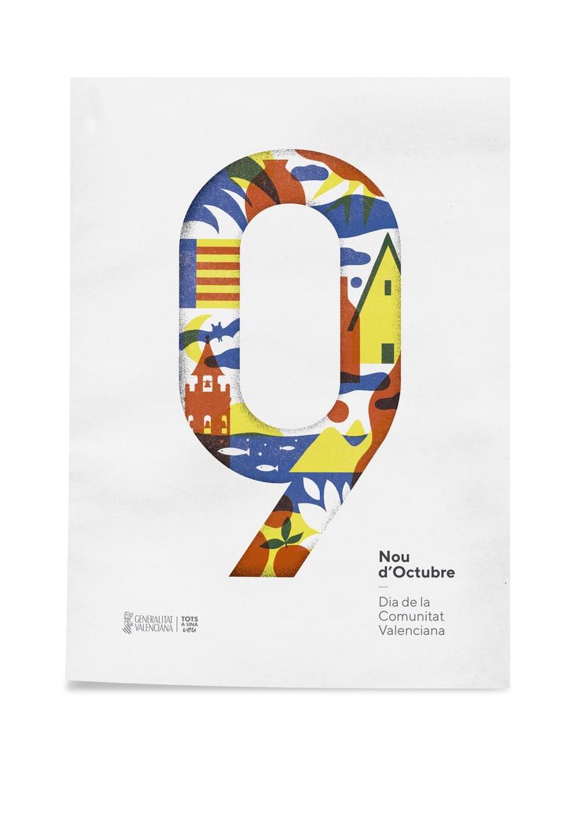 Diseño de los 4 carteles que conmemoran el 9 d'Octubre por Bestiola & Malota: Generalitat y variaciones para las 3 provincias. Esperamos que os gusten. <3 -1
