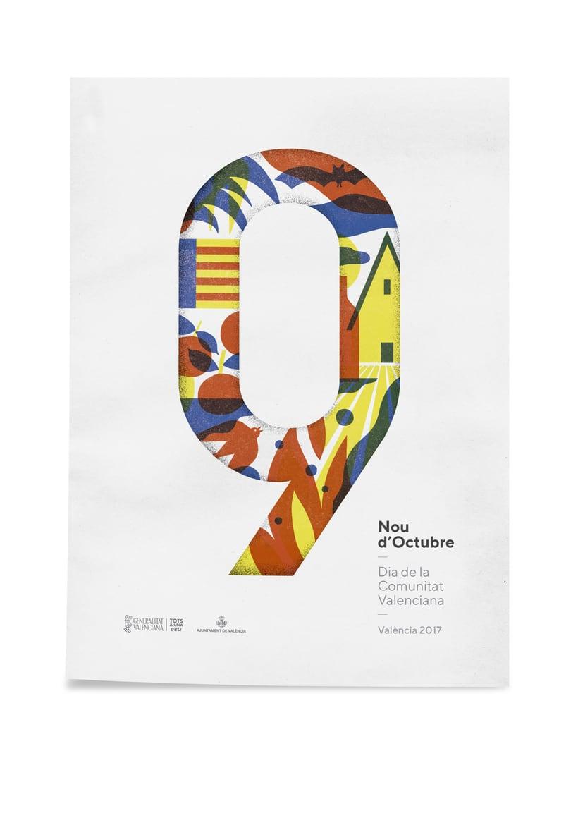 Diseño de los 4 carteles que conmemoran el 9 d'Octubre por Bestiola & Malota: Generalitat y variaciones para las 3 provincias. Esperamos que os gusten. <3 1