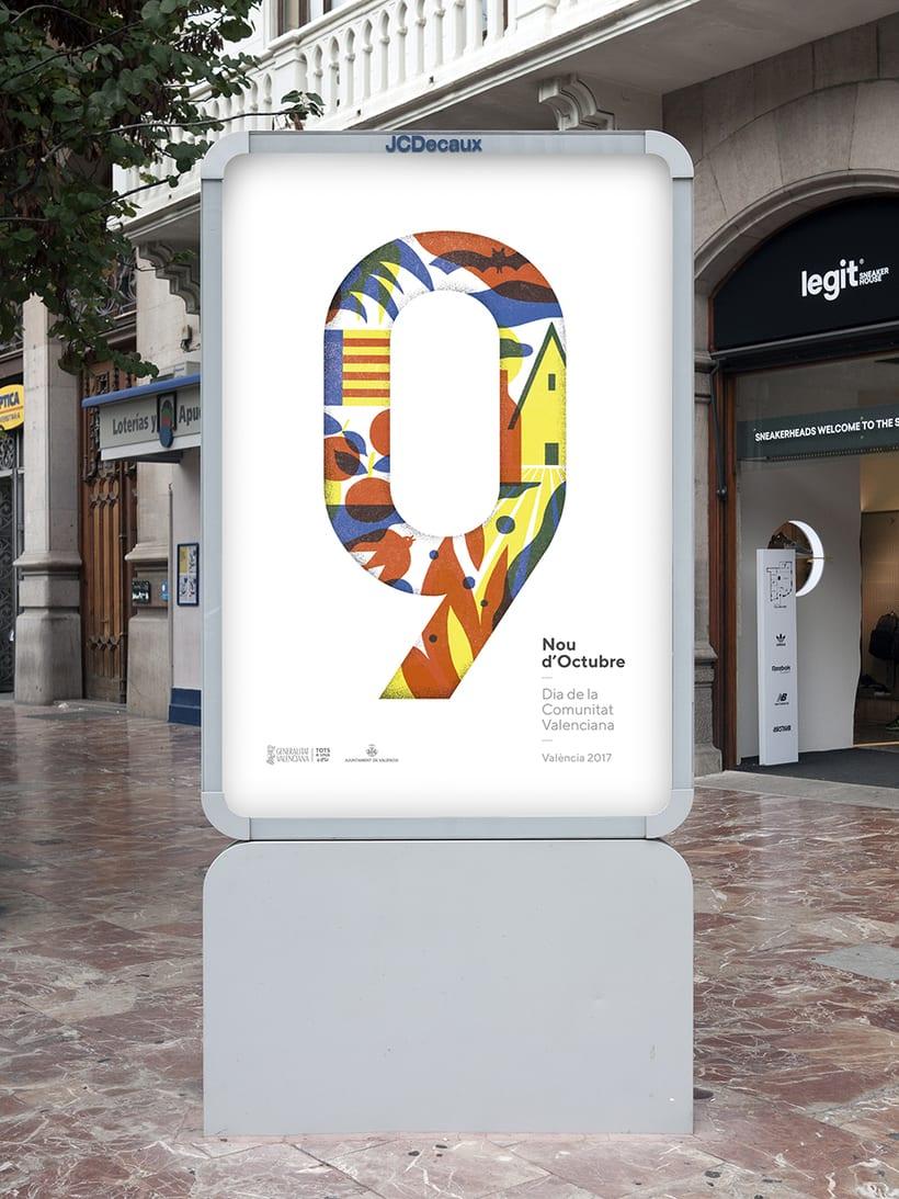 Diseño de los 4 carteles que conmemoran el 9 d'Octubre por Bestiola & Malota: Generalitat y variaciones para las 3 provincias. Esperamos que os gusten. <3 3