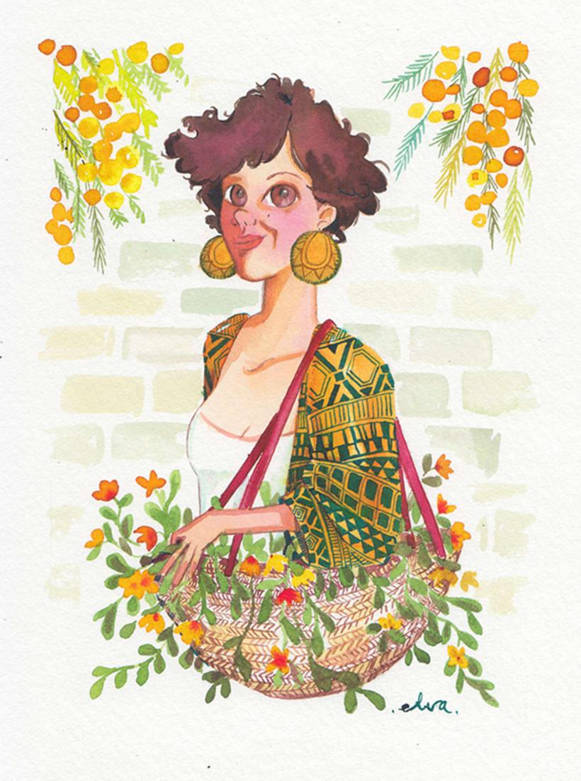Acuarelas y retratos floreados  2