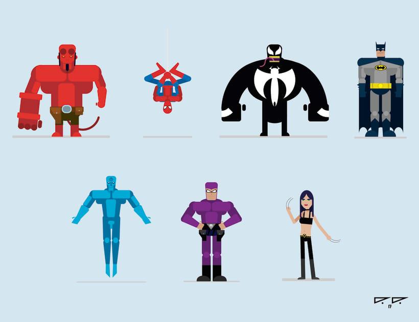 Flat-design: Superheroes -1