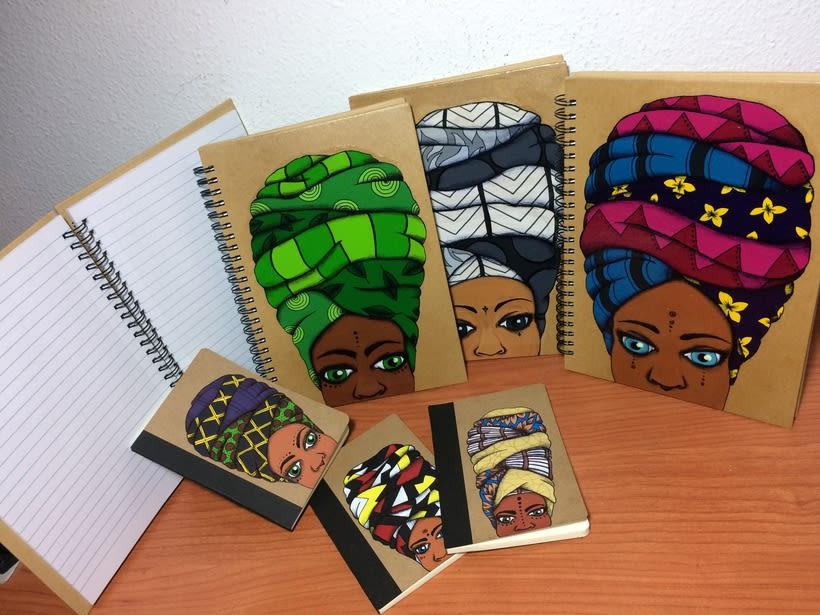 Turbante con arte (libretas de carton reciclado y pintadas a mano) 5