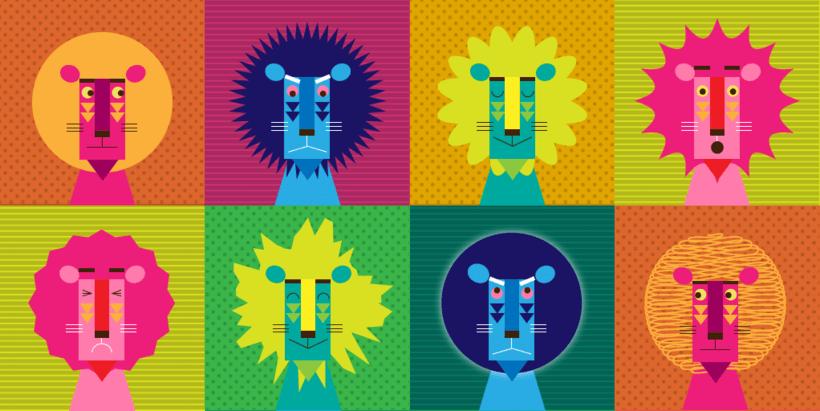 Diseño leones camiseta -1