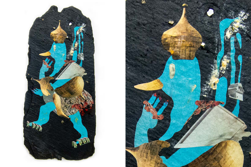 Asteroides. Collage en piedra. 2
