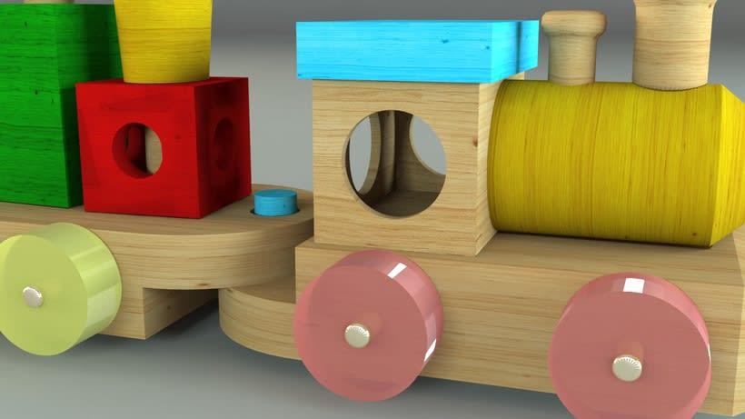 Tren de juguete en 3D 0