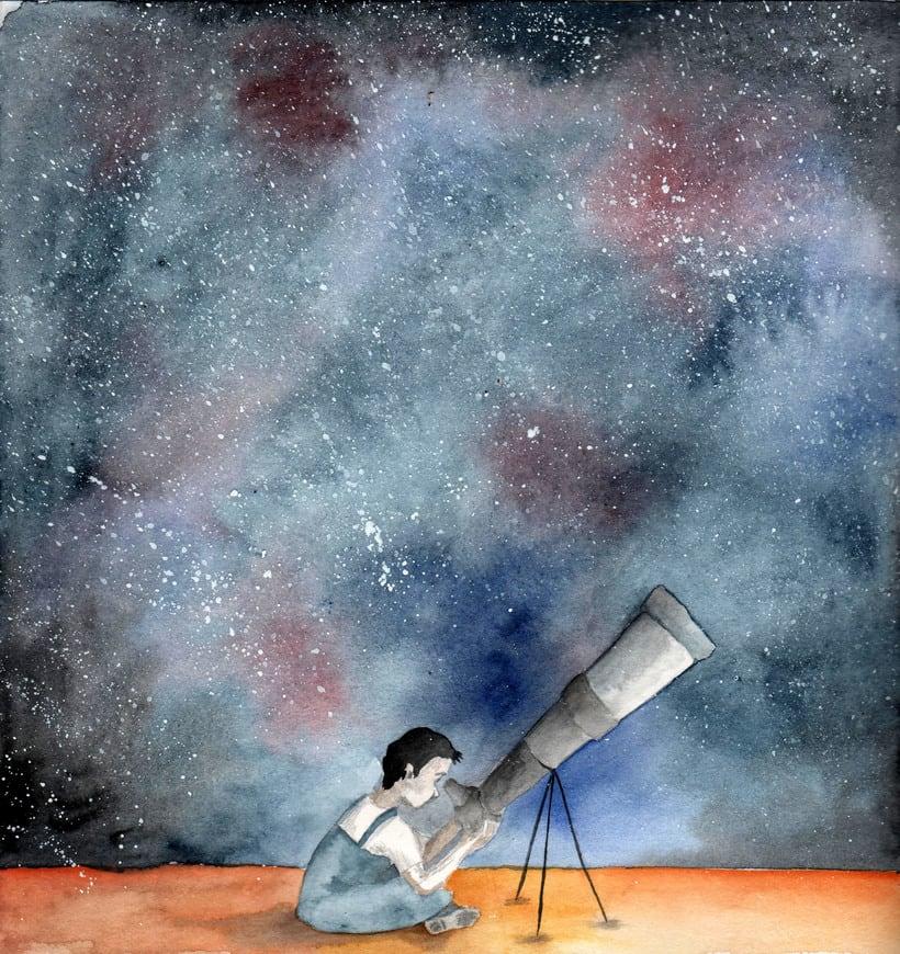 ilustración infantil. Cuento el encargado de la luna. 0