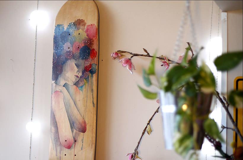 Colección de tablas de skate pintadas a mano. Skate art. -1