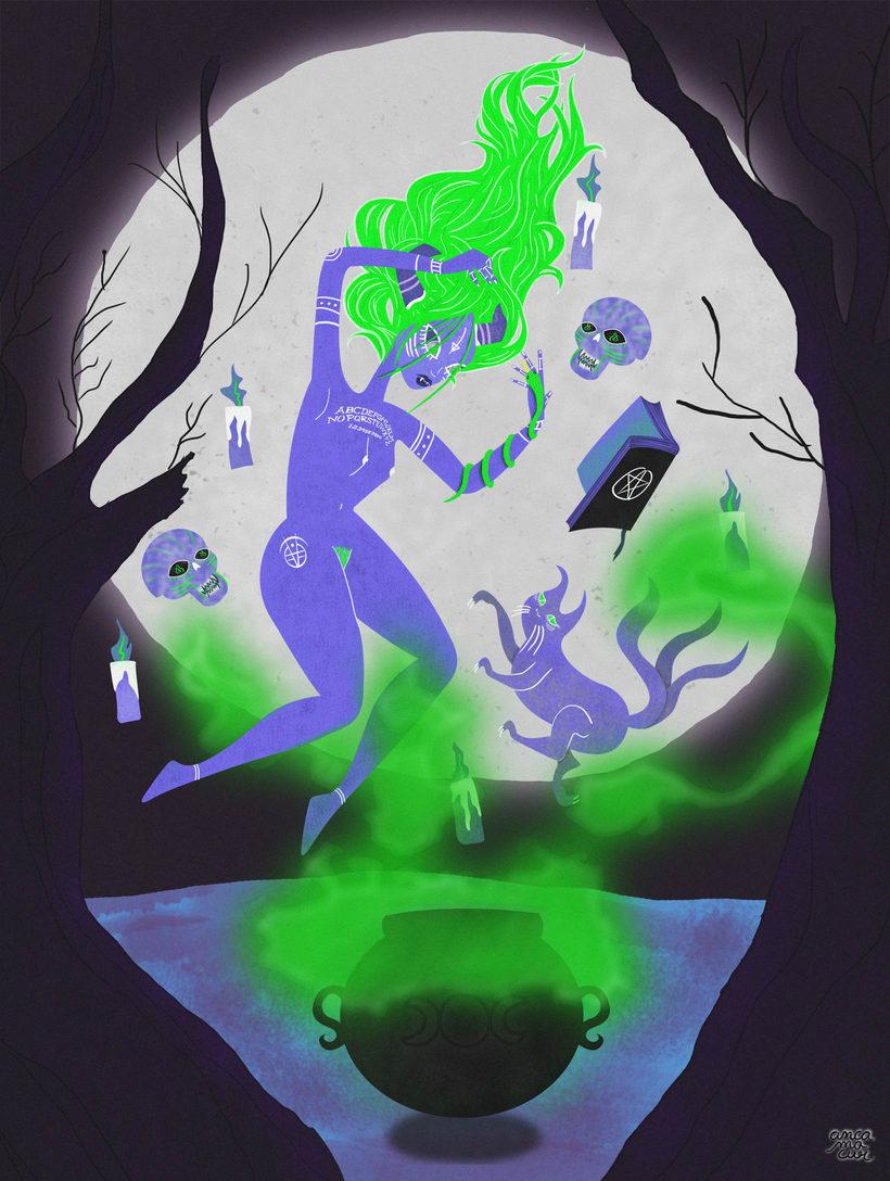 """Mi Proyecto del curso: Ilustración para no ilustradores """"Bakeneko Ritual"""" 1"""