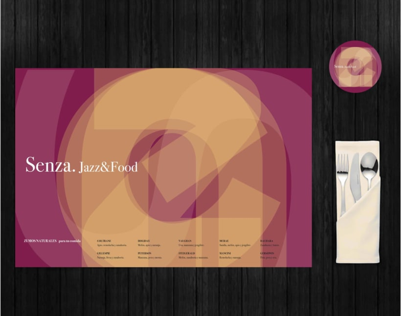 Identidad Naming, logotipo, salvamantel y posavasos Restaurante&Club de Jazz Senza. 2