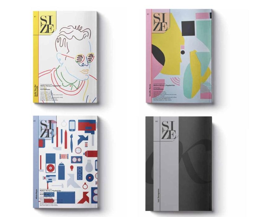 Editorial Naming maquetación de portada e interiores Revista SIZE 2