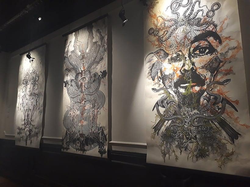 Collografías en gran formato. Exhibición en Centro Panteón. Mexico  -1