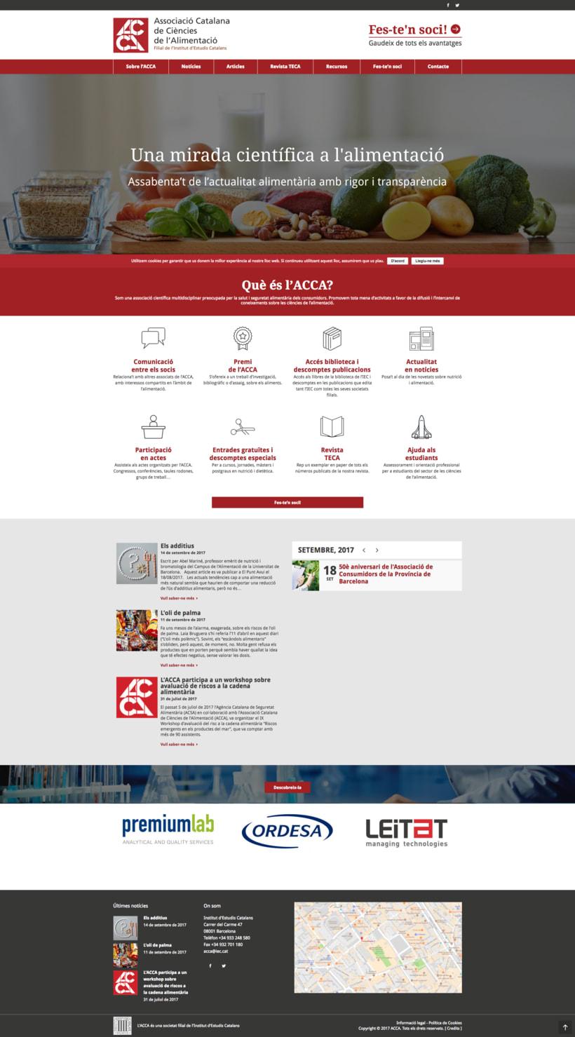 Copywriting web per a l'ACCA (Associació Catalana de Ciències de l'Alimentació) -1