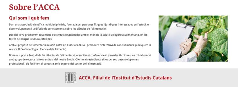 Copywriting web per a l'ACCA (Associació Catalana de Ciències de l'Alimentació) 0