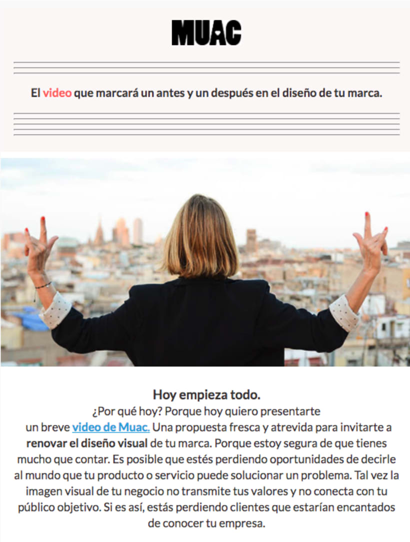 Video creativo + email para la marca Muac Design 0