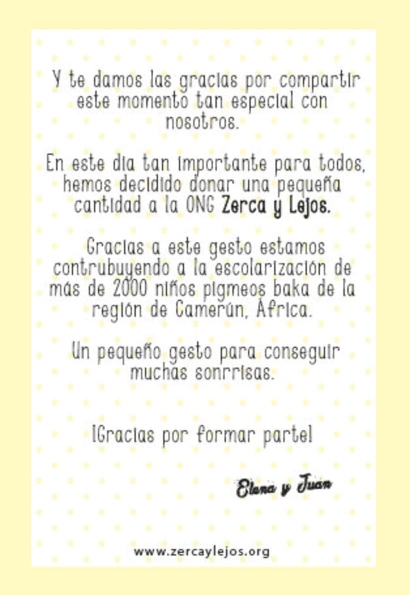 """Tarjeta agradecimiento para bodas en colaboración con la ONGD """"Zerca y lejos""""  2"""