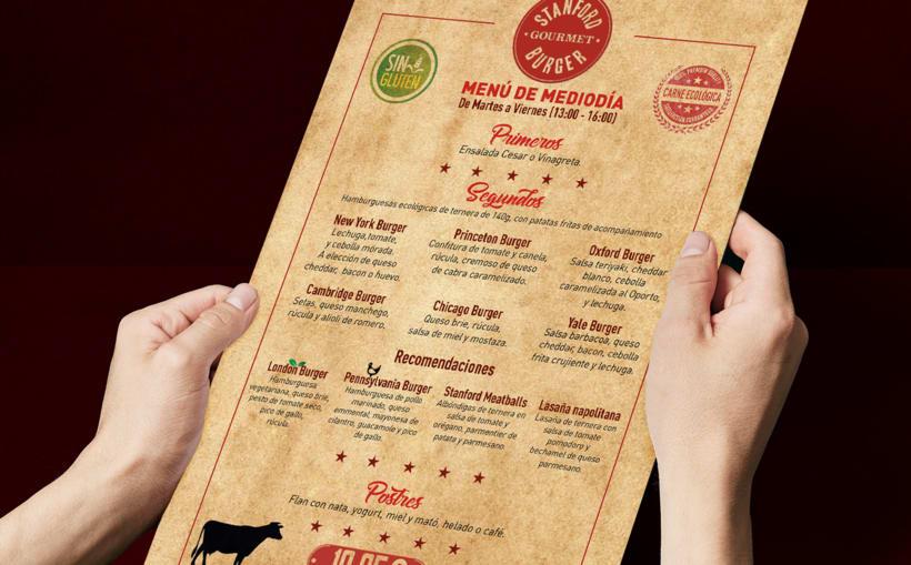 Stanford Gourmet Burger carta de menú.  3