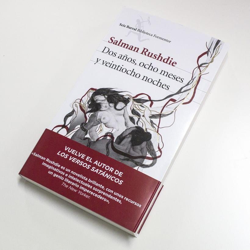 Cubierta ilustrada: Dos años, ocho meses y veintiocho noches de S. Rushdie 2