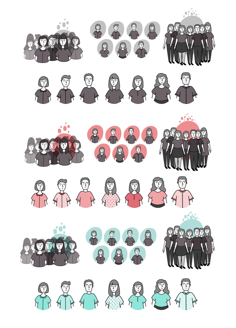 Dibujo e ilustración de personajes para un catálogo de cursos de Edutecno, 2016. -1