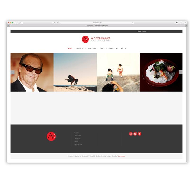 Ai Yoshikawa Photography. Diseño, programación web con customización de plantilla wordpress -1