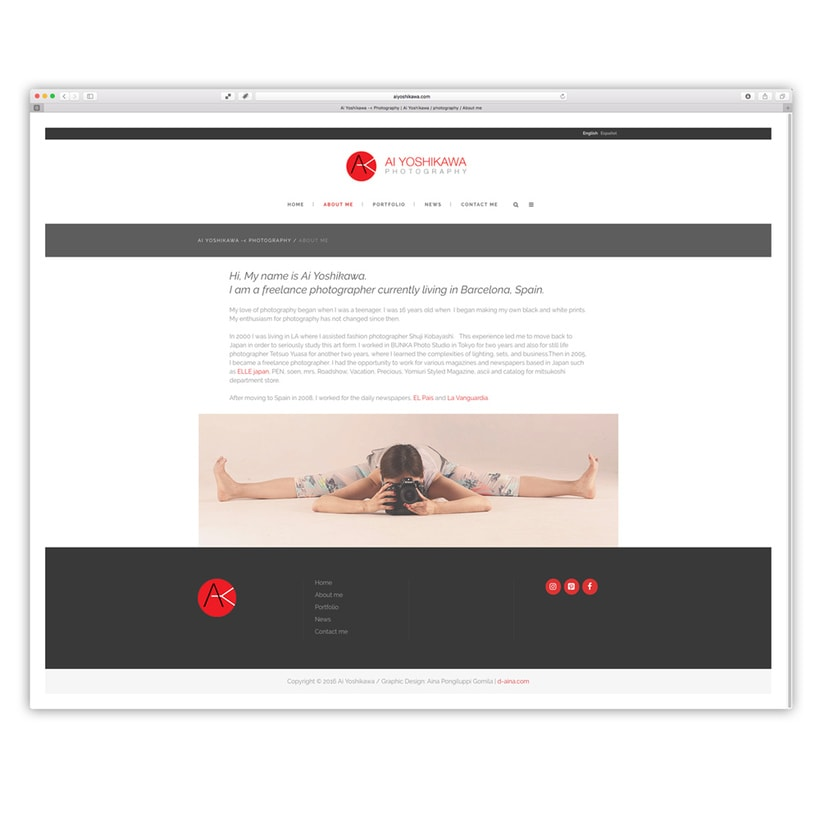 Ai Yoshikawa Photography. Diseño, programación web con customización de plantilla wordpress 0